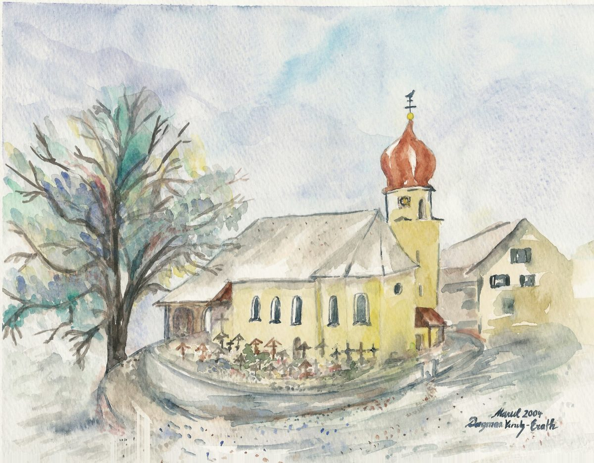 Kirche in Marul, Vorarlberg, Aquarell von Dagmar Venetz-Erath, 2004